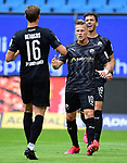 0:1 Tor, Jubel, nach Eigentor durch Rick van Drongelen (HSV) v.l. Kevin Behrens, Julius Biada, Leart Paqarada (Sandhausen)<br />Hamburg, 28.06.2020, Fussball 2. Bundesliga, Hamburger SV - SV Sandhausen<br />Foto: Tim Groothuis/Witters/Pool//via nordphoto<br /> DFL REGULATIONS PROHIBIT ANY USE OF PHOTOGRAPHS AS IMAGE SEQUENCES AND OR QUASI VIDEO<br />EDITORIAL USE ONLY<br />NATIONAL AND INTERNATIONAL NEWS AGENCIES OUT