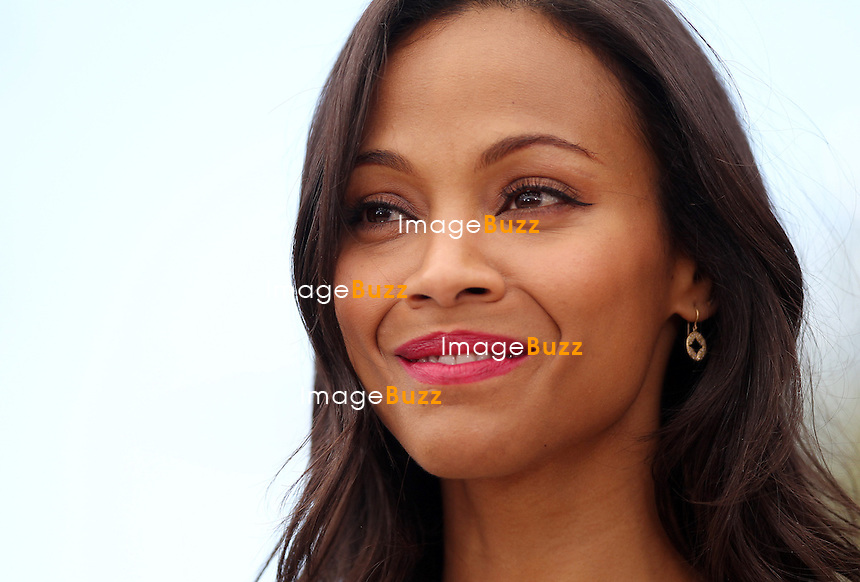 CPE/Actress Zoe Saldana attends the photocall for 'Blood Ties' at The 66th Annual Cannes Film Festival on May 20, 2013 in Cannes, France.