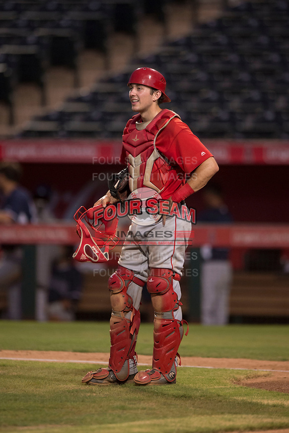 AZL Angels catcher David Clawson (7) during an Arizona League game against the AZL Padres 2 at Tempe Diablo Stadium on July 18, 2018 in Tempe, Arizona. The AZL Padres 2 defeated the AZL Angels 8-1. (Zachary Lucy/Four Seam Images)