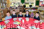 Pupils from Scoil an Fheirtéaraigh Finn Mac Gearailt, Ruan Feirtéar, Roibeard Ó Lubhaing, Siún Ní Mhuircheartaigh, Seamus Ó Súilleabhain on their first day at school.