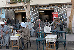 Cafe on the West Bank near Luxor.The town of Luxor occupies the eastern part of a great city of antiquity which the ancient Egytians called Waset and the Greeks named Thebes.