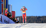 Therese Johaug competes during the FIS Cross Country Ski World Cup 10 Km Individual Classic race in Dobbiaco, Toblach a, on December 20, 2015. Norway's Therese Johaug wins. Credit: Pierre Teyssot