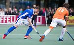UTRECHT - Ties Ceulemans (Kampong)  tijdens de hockey hoofdklasse competitiewedstrijd heren:  Kampong-Bloemendaal (3-3).   COPYRIGHT KOEN SUYK