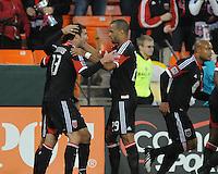D.C. United forward Maicon Santos (29) celebrates his score with teammate Chris Pontius (13) D.C. United defeated The Houston Dynamo 3-2 at RFK Stadium, Saturday April 28, 2012.