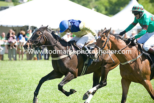 Country Cousin, left, holds off Left Unsaid in the National Hunt at Radnor.