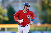 Buffalo Bisons designated hitter Danny Jansen (9) runs the bases after hitting a home run during a game against the Syracuse Chiefs on July 6, 2018 at Coca-Cola Field in Buffalo, New York.  Buffalo defeated Syracuse 6-4.  (Mike Janes/Four Seam Images)