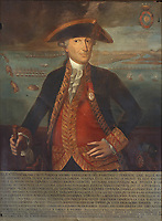Portrait of Jose Solano y Bote Carrasco y Diaz, marquis of Socorro, 1726-1806, officer in the Spanish Royal Marines, painting, in the Office of the Captain General, in the Museo de las Casas Reales, or Museum of the Royal Houses, in the Colonial Zone of Santo Domingo, capital of the Dominican Republic, in the Caribbean. The museum was opened in 1973 to celebrate the history and culture of the Spanish inhabitants of the colony, and is housed in a 16th century colonial palace originally serving as governor's office and Audiencia Real or Royal Court. Santo Domingo's Colonial Zone is listed as a UNESCO World Heritage Site. Picture by Manuel Cohen