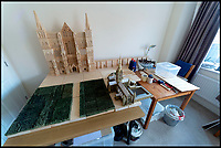 BNPS.,co.uk (01202 558833)<br /> Pic:   RogerArbon/BNPS<br /> <br /> The huge model takes up a large part of his living room.<br /> <br /> Single-again Barry King has completed his stunning matchstick model of the front of Salisbury Cathedral - thanks to an old flame.<br /> <br /> Barry began the painstaking project in 2012 but downed tools when he become distracted by a long-term relationship.<br /> <br /> But after the couple split up last year, Barry resumed his hobby and completed the replica of the West Front of the Wiltshire cathedral using 730,000 matches.<br /> <br /> The stunning model will go on public display in Salisbury from August 19.