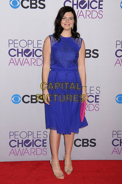 Casey Wilson.People's Choice Awards 2013 - Arrivals held at Nokia Theatre L.A. Live, Los Angeles, California, USA..January 9th, 2013.full length dress blue sleeveless pink clutch bag beige shoes .CAP/ADM/BP.©Byron Purvis/AdMedia/Capital Pictures.