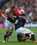 Alun Wyn Jones of Wales tackled by Johnnie Beattie of Scotland - RBS 6Nations 2015 - Scotland  vs Wales - BT Murrayfield Stadium - Edinburgh - Scotland - 15th February 2015 - Picture Simon Bellis/Sportimage