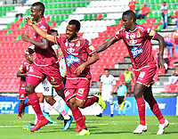 IBAGUÉ-COLOMBIA , 10 -11-2018 . Luis Gonzalez  jugador del Deportes Tolima  celebra su gol contra Patriotas Boyacá durante partido por la fecha 19 de la Liga Águila II 2018 jugado en el estadio Manuel Murillo Toro de la ciudad de Ibagué./ Luis Gonzalez player of Deportes Tolima celebrates his goal against  of Patriotas Boyaca during the match for the date 19 of the Aguila League II 2018 played at Manuel Murillo Toro  stadium in Ibague city. Photo: VizzorImage/ Juan Carlos Escobar / Contribuidor