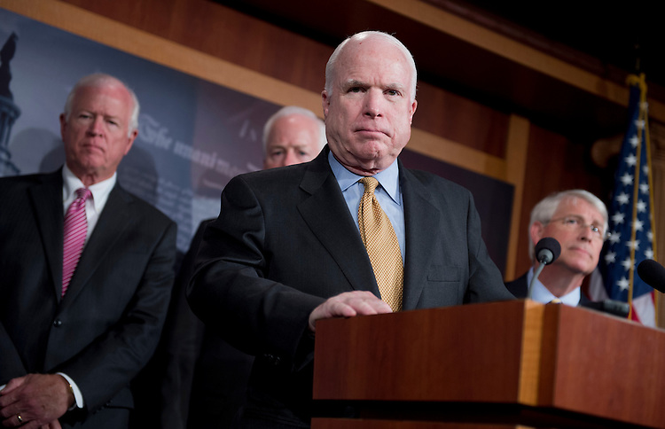UNITED STATES - JUNE 26:  Sen. John McCain, R-Ariz., conducts a news conference in the Capitol to discuss security leaks in the Obama administration and call on a special counsel to investigate.  Sen. Saxby Chambliss, R-Ga., left, Sen. John Cornyn, R-Texas, and Sen. Roger Wicker, R-Miss., also appear.  (Photo By Tom Williams/CQ Roll Call)