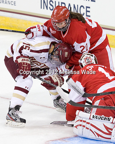 Emily Field (BC - 15), Isabel Menard (BU - 20) - The visiting Boston University Terriers defeated the Boston College Eagles 4-2 on Friday, October 5, 2012, at Kelley Rink in Conte Forum in Chestnut Hill, Massachusetts.