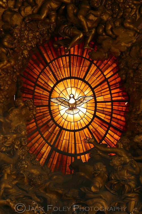 Gian Lorenzo Bernini's stained glass behind the alter in Saint Peter's Basilica