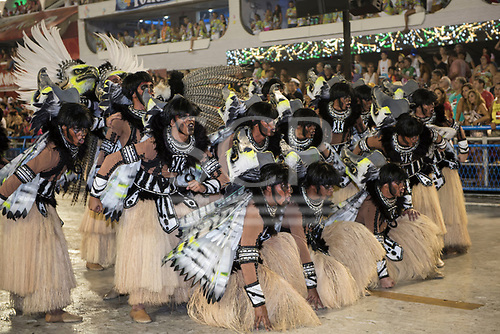 Imperatriz Leopolinense Samba School, Carnival, Rio de Janeiro, Brazil, 26th February 2017. Carnival dancers dressed as Indians.