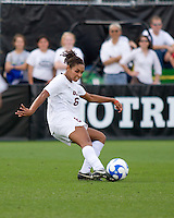 USC defender forward Lauren Brown (6) strikes the ball.  The University of Southern California defeated Florida State University 2-0 to win the 2007 women's NCAA College Cup in College Station, TX on December 9, 2007.