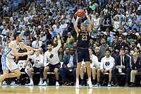 CHAPEL HILL, NC - NOVEMBER 06: Dane Goodwin #23 of the University of Notre Dame takes a jump shot during a game between Notre Dame and North Carolina at Dean E. Smith Center on November 06, 2019 in Chapel Hill, North Carolina.