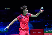 17th March 2018, Arena Birmingham, Birmingham, England; Yonex All England Open Badminton Championships; Chen Yufei (CHN) serves in her semi-final match against Tai Tzu Ying (TPE)