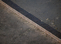 aerial photograph snow fence protecting interstate I 80 southern Wyoming