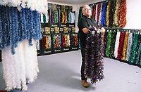 Pictured: David Phillips in the tinsel room. Thursday 16 November 2017<br /> Re: Festive company which manufactures tinsel in Cwmbran, Wales, UK.