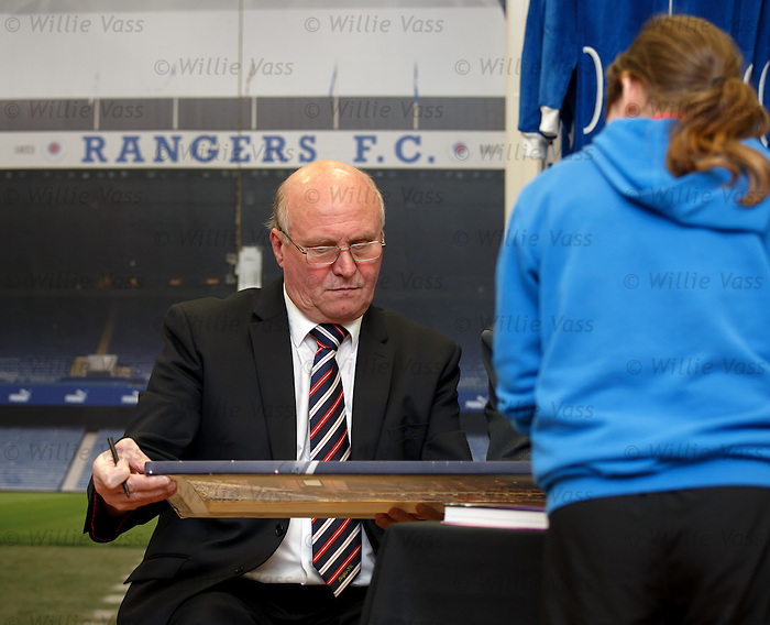 "Colin Stein takes a breather during his book signing duties at the launch of the Jock Wallace book ""Blue Thunder"" at the Rangers Megastore"