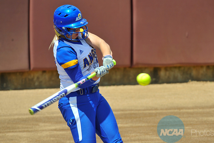 SALEM, VA - MAY 29:  Kenedy Urbany (20) of Angelo State University gets a hit against Minnesota State University during the Division II Women's Softball Championship held at Moyer Park on May 29, 2017 in Salem, Virginia. Minnesota State defeated Angelo State 5-1 to win the national championship. (Photo by Andres Alonso/NCAA Photos via Getty Images)