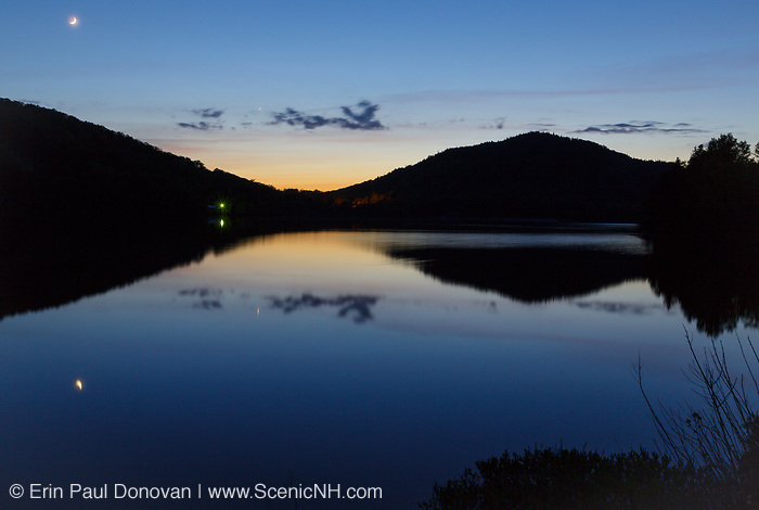 Echo Lake at dusk in Franconia Notch State Park of the New Hampshire White Mountains during the spring months.