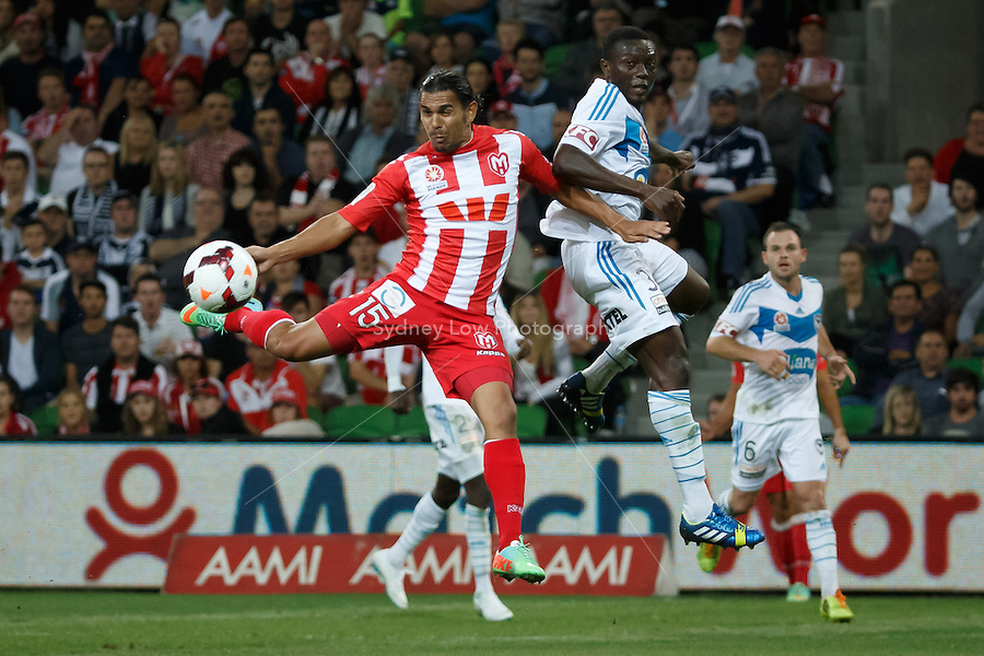 David WILLIAMS of the Heart kicks for goal in the round 21 match between Melbourne Heart and Melbourne Victory in the Australian Hyundai A-League 2013-24 season at AAMI Park, Melbourne, Australia. Photo Sydney Low/Zumapress<br /> <br /> This image is not for sale on this web site. Please visit zumapress.com for licensing