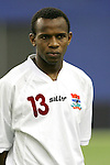 08 July 2007: Gambia's Ousman Jallow, pregame. Gambia's Under-20 Men's National Team defeated Portugal's Under-20 Men's National Team 2-1 in a Group C opening round match at Olympic Stadium in Montreal, Quebec, Canada during the FIFA U-20 World Cup Canada 2007 tournament.