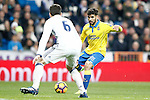 Real Madrid's Nacho Fernandez (l) and UD Las Palmas' Tana Dominguez during La Liga match. March 1,2017. (ALTERPHOTOS/Acero)