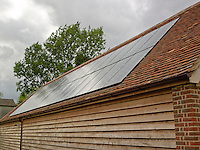 Solar panels have been installed on the roof of this converted manor house