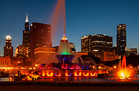 Buckingham Fountain on Chicago's Lake Michigan lakefront glows and flows every night through the summer months, Chicago, Illinois