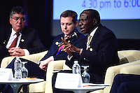 Washington, DC - October 7, 2016: Matia Kasaija, Ugandan Minister of Finance, participates in a panel discussion on sustainable development goals during the World Bank/IMF annual meetings in the District of Columbia, October 7, 2016.  (Photo by Don Baxter/Media Images International)