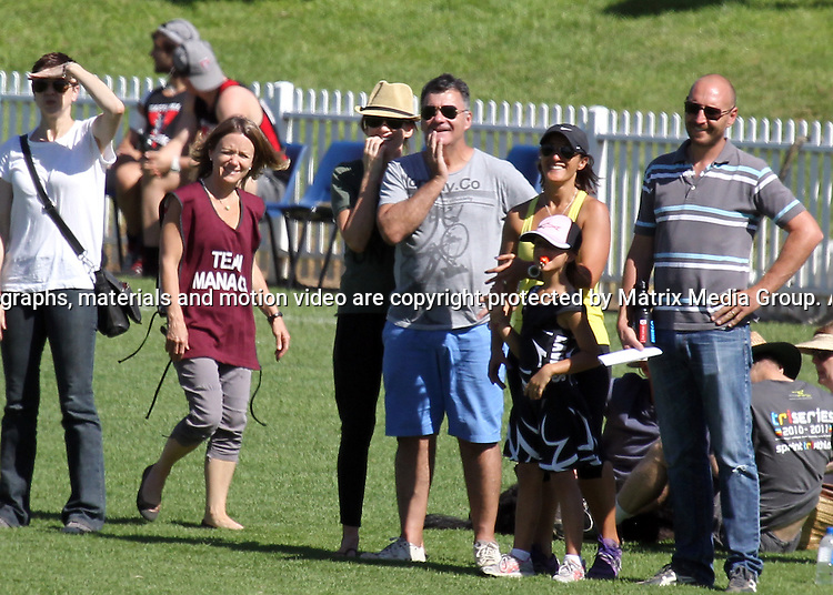 13 APRIL 2013 SYDNEY AUSTRALIA..EXCLUSIVE PICTURES..Kylie Gillies pictured with her husband Anthony watching her two sons play AFL football at Drummoyne Oval..*No internet without clearance*.MUST CALL PRIOR TO USE +61 2 9211-1088. Matrix Media Group.Note: All editorial images subject to the following: For editorial use only. Additional clearance required for commercial, wireless, internet or promotional use.Images may not be altered or modified. Matrix Media Group makes no representations or warranties regarding names, trademarks or logos appearing in the images..