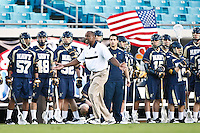 February 19, 2012:   Lacrosse action between the Navy Midshipmen and the Jacksonville Dolphins during the Moe's Southwest SunShine Classic played at EverBank Field in Jacksonville, Florida. Jacksonville defeated Navy 13-7.