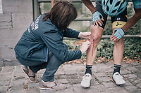Ruslan Tleubayev (KAZ/Astana) being attended by the roadside after a crash<br /> <br /> 97th Brussels Cycling Classic (1.HC)<br /> 1 Day Race: Brussels &gt; Brussels (201km)