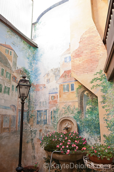 A painted courtyard in the Carouge neighborhood of Geneva, Switzerland
