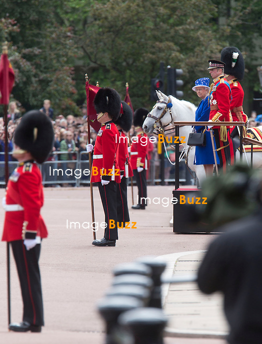 TROOPING THE COLOUR 2013  - London, June 15, 2013. The Queen attended the annual parade but her husband, the Duke of Edinburgh, missed the event as he remained in hospital recovering from surgery.<br /> It ended with a 41-gun salute and RAF flypast, watched by the Royal Family from the balcony of Buckingham Palace.<br /> Pic : Queen Elisabeth II &amp; Duke Of Kent