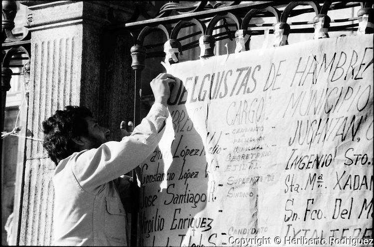 COCEI partisans started a hunger strike at the Mexico City Cathedral to protest against fraud in municipality elections in Juchitan, Oaxaca, November 30, 1983.  © Photo by Heriberto Rodriguez