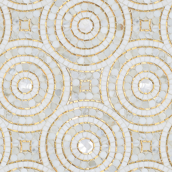 Orson, a hand-cut mosaic shown in Shell, honed Thassos, 24K Gold Glass and polished Calacatta Pennyrounds, is part of the Aurora® collection by Sara Baldwin for New Ravenna.