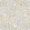 Orson, a hand-cut mosaic shown in Shell, honed Thassos, 24K Gold Glass and polished Calacatta Pennyrounds, is part of the Aurora® collection by New Ravenna.