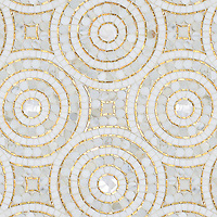 Orson, a hand-cut mosaic shown in Shell, honed Thassos, 24K Gold Glass and polished Calacatta Pennyrounds, is part of the Aurora™ Collection by Sara Baldwin for New Ravenna.