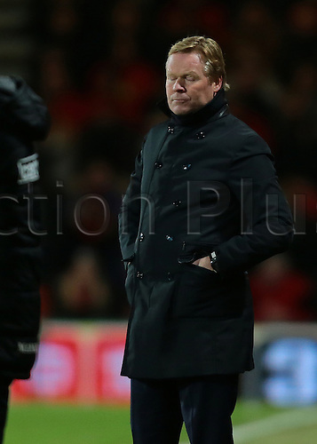 01.03.2016. Vitality Stadium, Bournemouth, England. Barclays Premier League. Bournemouth versus Southampton. Southampton Manager Ronald Koeman closes his eyes in disappointment as Bournemouth Forward Benik Afobe scores Bournemouth's second