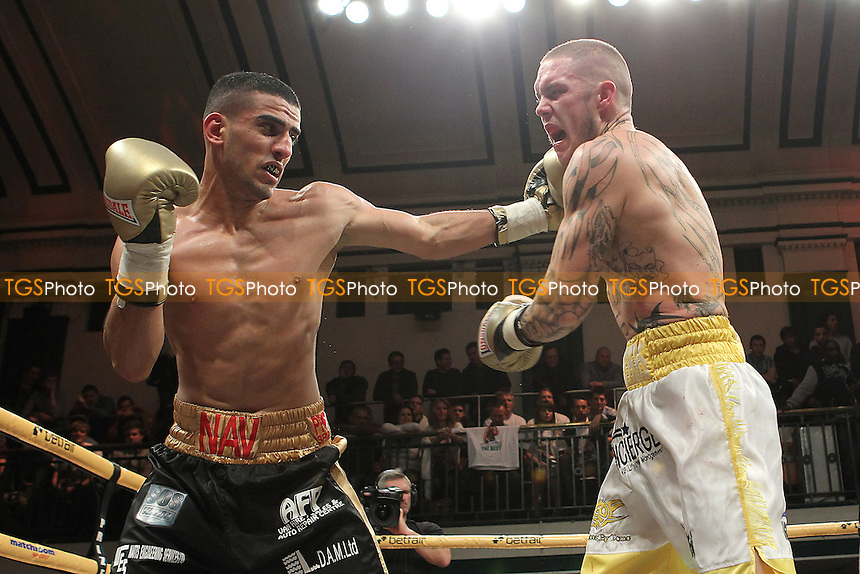 Terry Carruthers (white shorts) defeats Navid Mansouri in a Prizefighter The Light-Middleweights III boxing contest at York Hall, Bethnal Green, London, promoted by Matchroom Sports - 03/11/12 - MANDATORY CREDIT: Gavin Ellis/TGSPHOTO - Self billing applies where appropriate - 0845 094 6026 - contact@tgsphoto.co.uk - NO UNPAID USE.