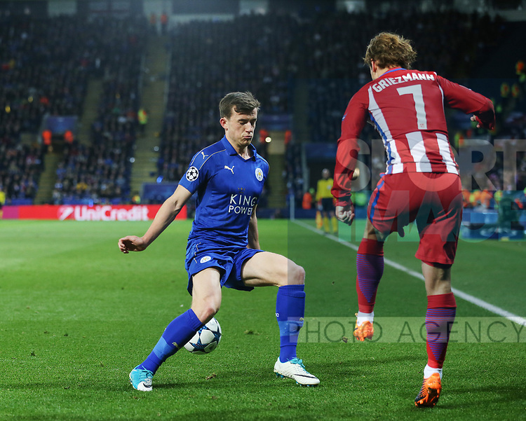 Leicester's Ben Chilwell tussles with Antione Griezmann of Atletico during the Champions League Quarter-Final 2nd leg match at the King Power Stadium, Leicester. Picture date: April 18th, 2017. Pic credit should read: David Klein/Sportimage