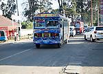 Tata single decker bus in traffic, Nuwara Eliya, Sri Lanka, Asia