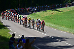 The peloton, with Thomas De Gendt (BEL) Lotto-Soudal and Julien Vermote (BEL) Quick-Step Floors on the front, in action during Stage 4 of the 104th edition of the Tour de France 2017, running 207.5km from Mondorf-les-Bains, Luxembourg to Vittel, France. 4th July 2017.<br /> Picture: ASO/Pauline Ballet | Cyclefile<br /> <br /> <br /> All photos usage must carry mandatory copyright credit (&copy; Cyclefile | ASO/Pauline Ballet)