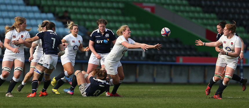 England Women's Amber Reed hands of to with team-mate Harriet Millar-Mills<br /> <br /> Photographer Stephen White/CameraSport<br /> <br /> Women's Six Nations Round 4 - England Women v Scotland Women - Saturday 11th March 2017 - The Stoop - London<br /> <br /> World Copyright &copy; 2017 CameraSport. All rights reserved. 43 Linden Ave. Countesthorpe. Leicester. England. LE8 5PG - Tel: +44 (0) 116 277 4147 - admin@camerasport.com - www.camerasport.com