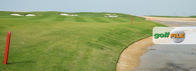 View of the tide-filled pond adjacent to the 3rd at Al Zorah Golf Club, Dubai, United Arab Emirates.  26/01/2016. Picture: Golffile | David Lloyd<br /> <br /> All photos usage must carry mandatory copyright credit (&copy; Golffile | David Lloyd)