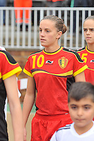 20131011 - SCHWEINFURT , GERMANY :  Belgian Chloe Vande Velde pictured during the female soccer match between Belgium Women U17 and The Netherlands U17 , in the first game of the Elite round in group6 in the UEFA European Women's Under 17 competition 2013 in the Willy Sachs Stadium - Schweinfurt. Friday 11 October 2013. PHOTO DAVID CATRY